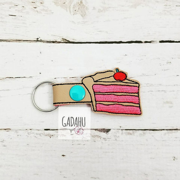 Cake Slice Snap tab Key Fob ITH Embroidery Design file
