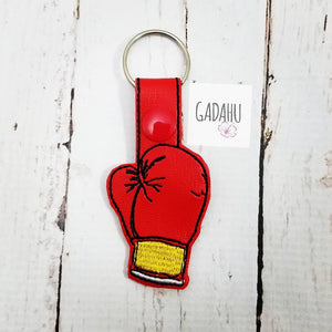 Boxing Glove Snap tab Key Fob ITH Embroidery Design file