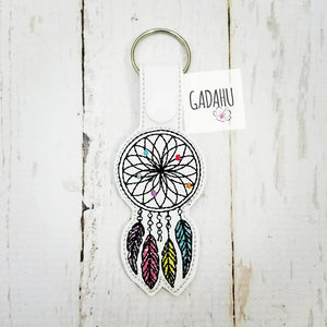 Dream catcher Snap tab Key Fob ITH Embroidery Design file
