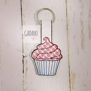 Cupcake Snap tab Key Fob ITH Embroidery Design file