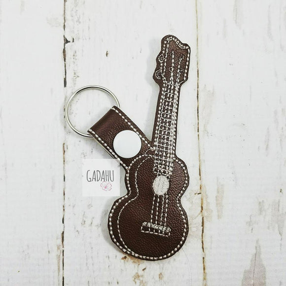 Ukulele Guitar Snap tab Key Fob ITH Embroidery Design file