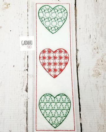 Christmas Hearts bookmark ITH Embroidery design 4x4/ 5X7
