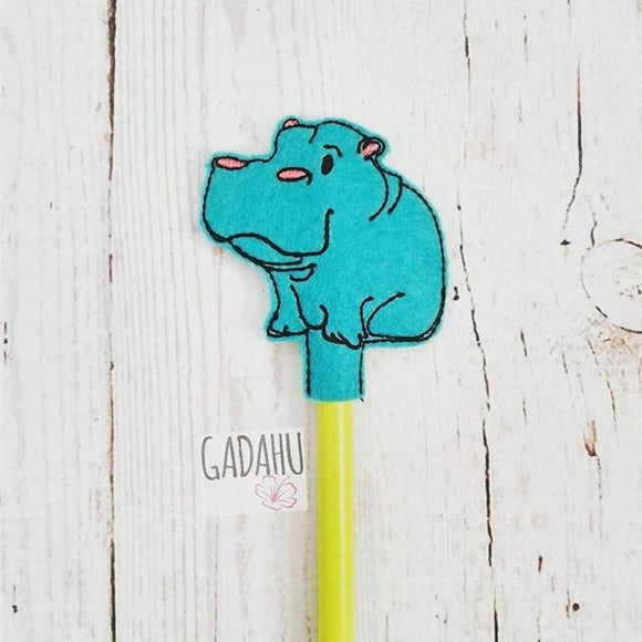 Hippopotamus Pencil Topper ITH Embroidery design