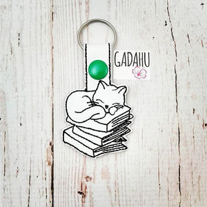 Cat Sleeping on Books Snap tab Key Fob ITH Embroidery Design file