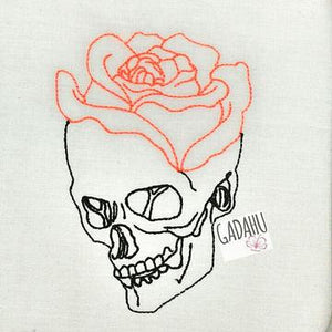 Skull Rose Machine Embroidery Design File 4X4/5X7 Instant Download