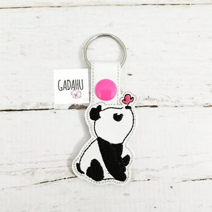 Panda with butterfly Key Fob Snap Tab Embroidery Design. Instant Digital Download.