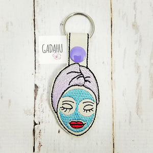 Spa Girl Key Fob Snap Tab Embroidery Design