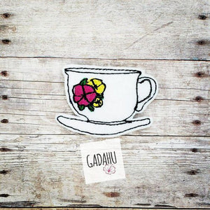Floral Coffee Cup feltie ITH Embroidery design file