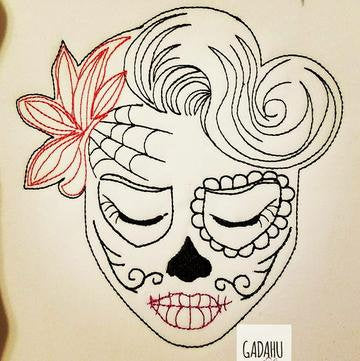 Sugar Skull Flower Girl Machine Embroidery Design File 4X4/5X7 Instant Download