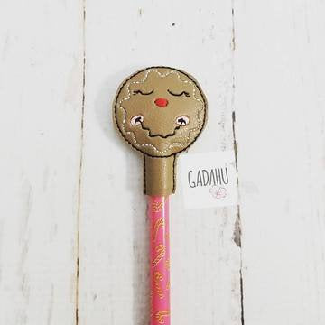 Gingerbread Girl Pencil Topper ITH Embroidery design