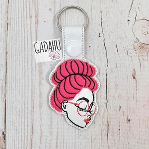 Girl with glasses Snap tab Key Fob ITH Embroidery Design file