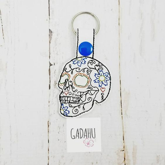 Sugar Skull Snap tab Key Fob ITH Embroidery Design file