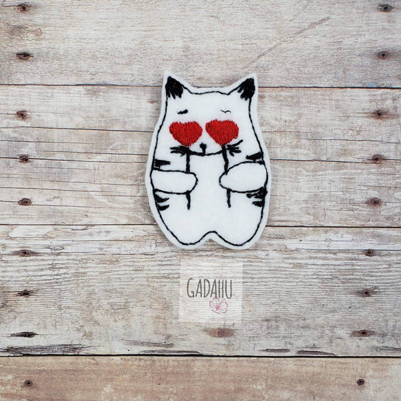 Cat Love feltie. Embroidery Design 4x4 hoop Instant Download. Felties. Animal feltie. Valentine's feltie