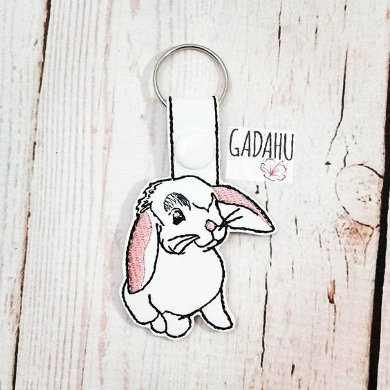 Rabbit Snap tab Key Fob ITH Embroidery Design file