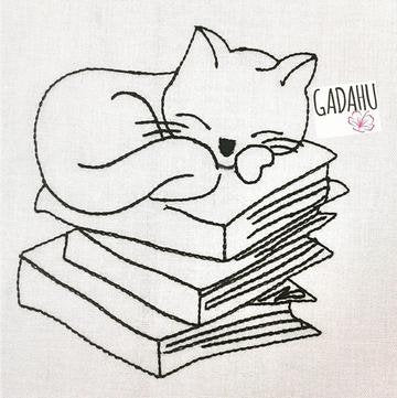Cat Sleeping on Books Machine Embroidery Design File 4X4/5X7 Instant Download