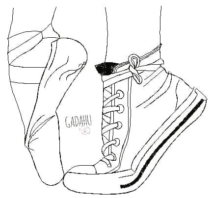 Ballet Sneaker Machine Embroidery Design Digital file. Three Sizes 4x4/5x5/8x8