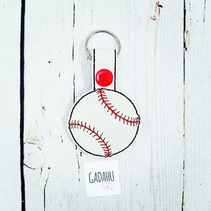 Baseball Snap tab Key Fob ITH Embroidery Design file