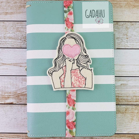 Girl in love Planner Bookmark ITH Embroidery design 4x4