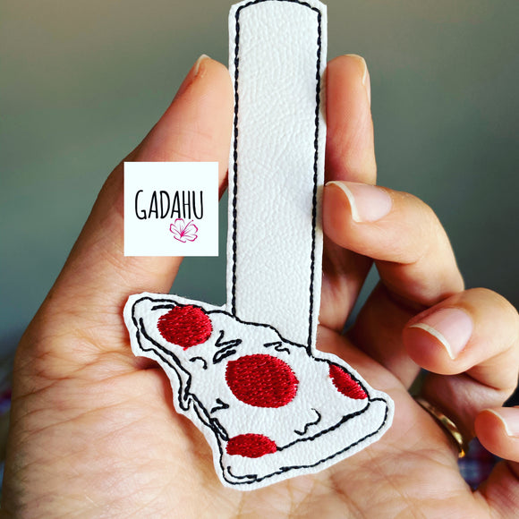 Pizza Snap tab Key Fob ITH Embroidery Design file