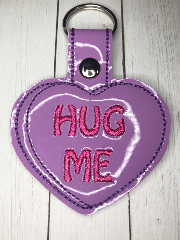 Hug Me Heart Snap tab Key Fob ITH Embroidery Design file