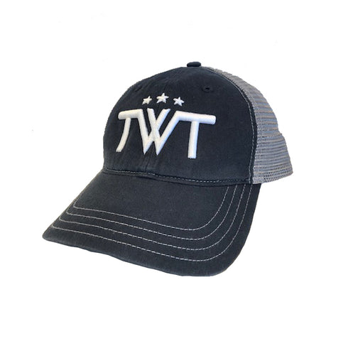 TWT Unstructured Minimal Logo Trucker Hat - Black/Charcoal