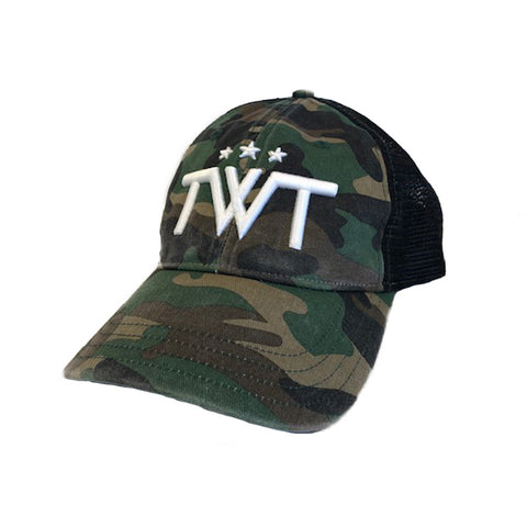 TWT Unstructured Minimal Logo Trucker Hat - Camo/black