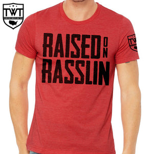 Raised on Rasslin' Stacked Tee - Red