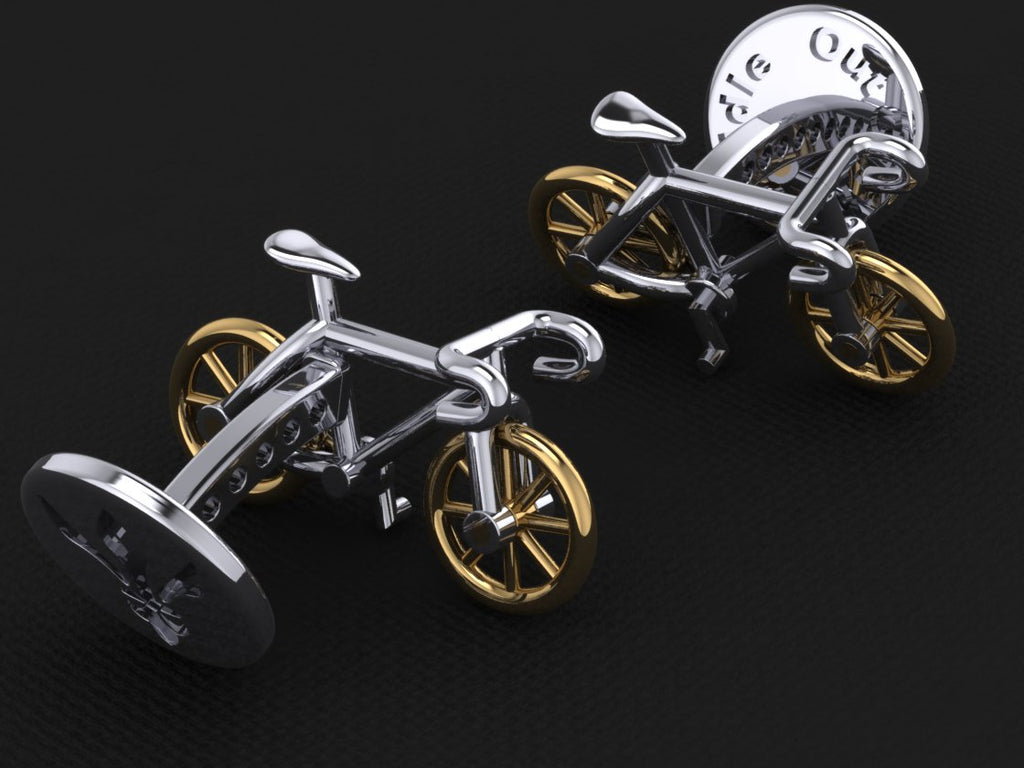 Roadie Cufflinks - with Gold Wheels