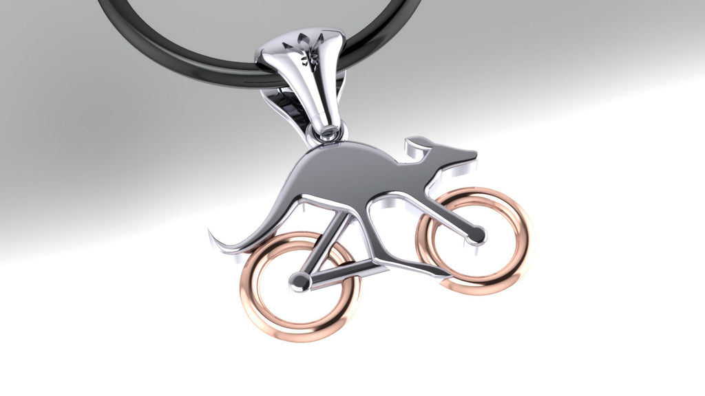 Cycling Skippy Pendant – with Rose Gold Wheels