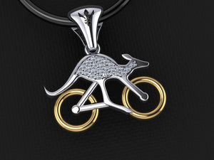 Gold Cycling Skippy Pendant – Pave Diamond Set