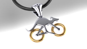 Cycling Skippy Pendant – with Gold Wheels