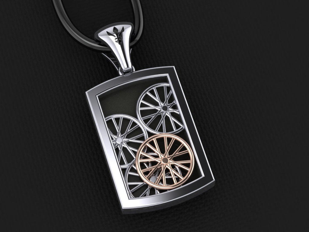 Wheelie Pendant – with Rose Gold Rim