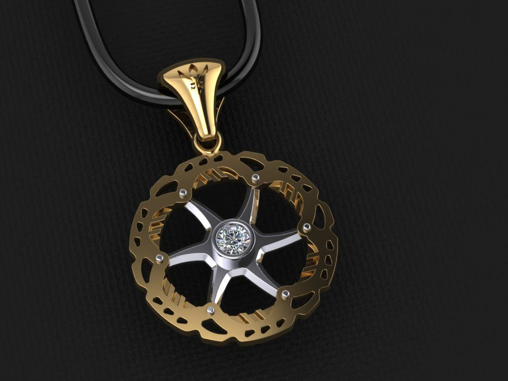 Gold Rotor Pendant-White Diamond Set