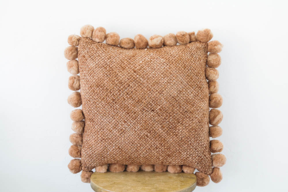 Woven Pom Pom Pillow in Amber