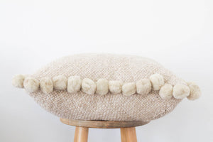 Woven Pom Pom Pillow in Sand