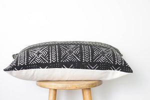 Mud Cloth Lumbar Pillow Cover Black
