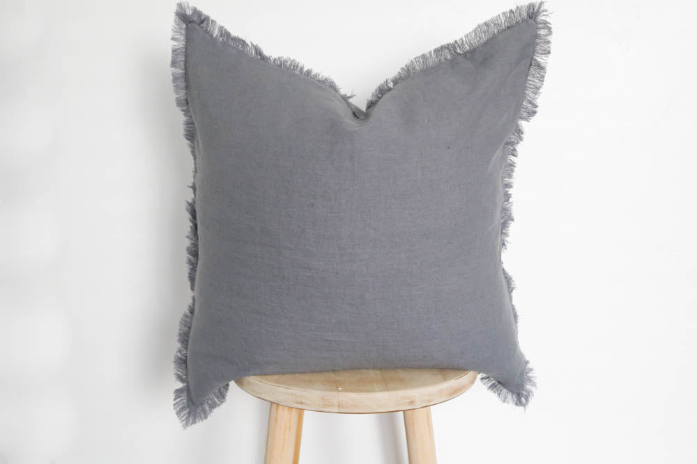 Raw Edge Linen Pillow Cover Grey