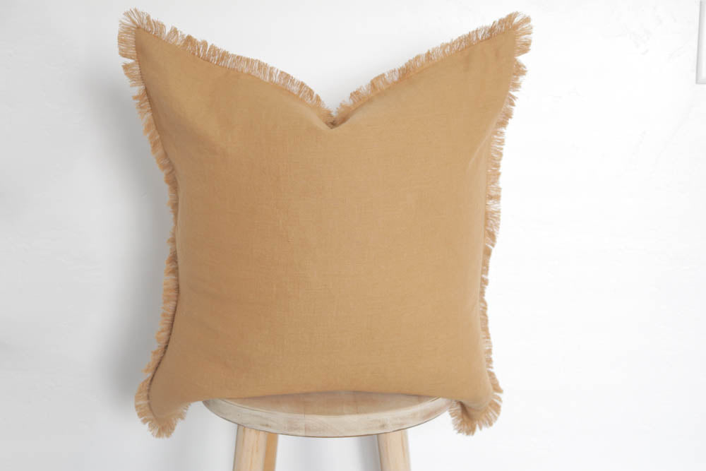 Raw Edge Linen Pillow Cover Mustard