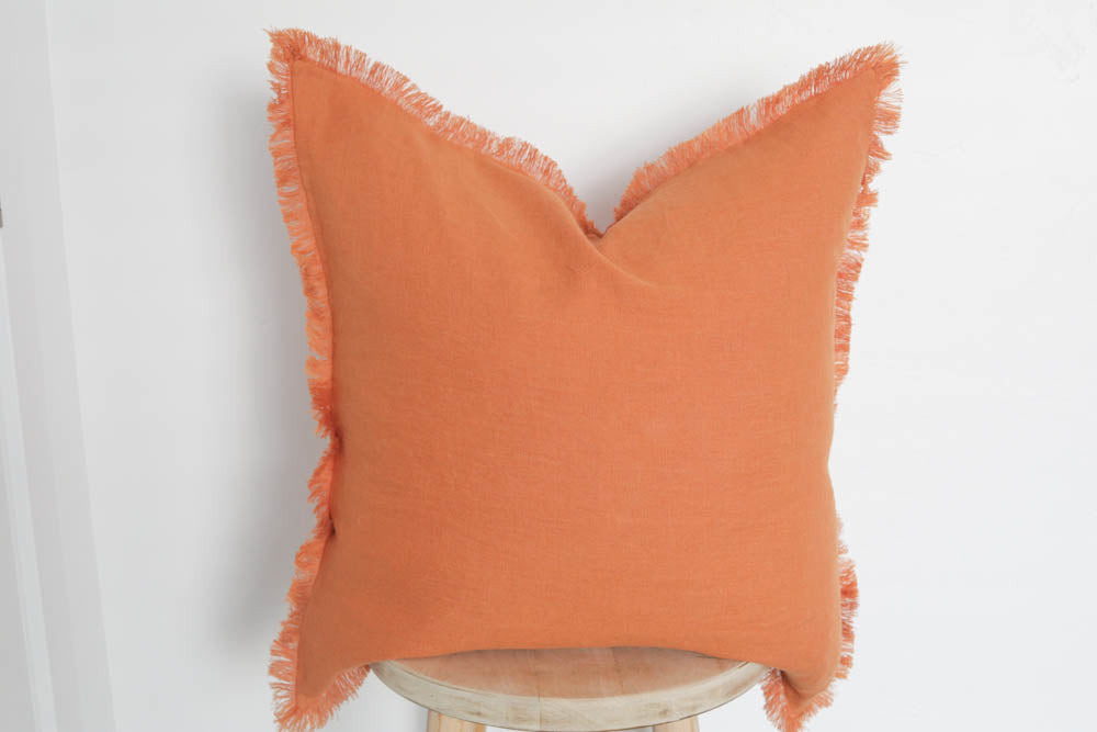 Raw Edge Linen Pillow Cover in Sunrise