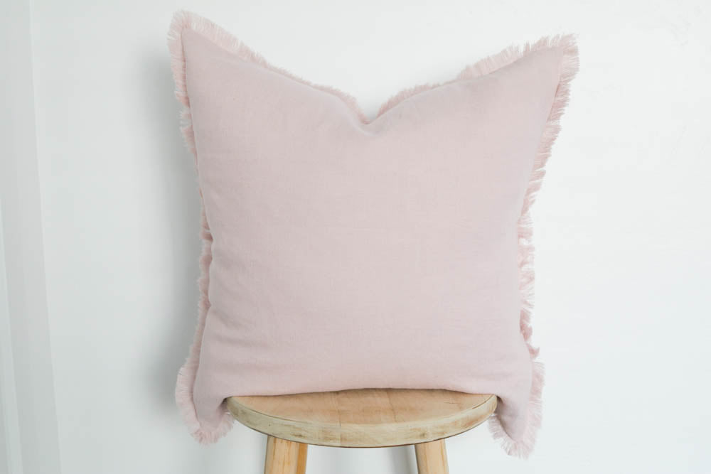 Raw Edge Linen Pillow Cover in Pink