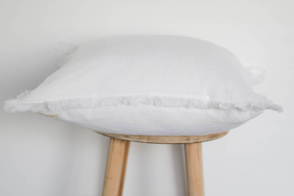 Raw Edge Linen Pillow Cover in White