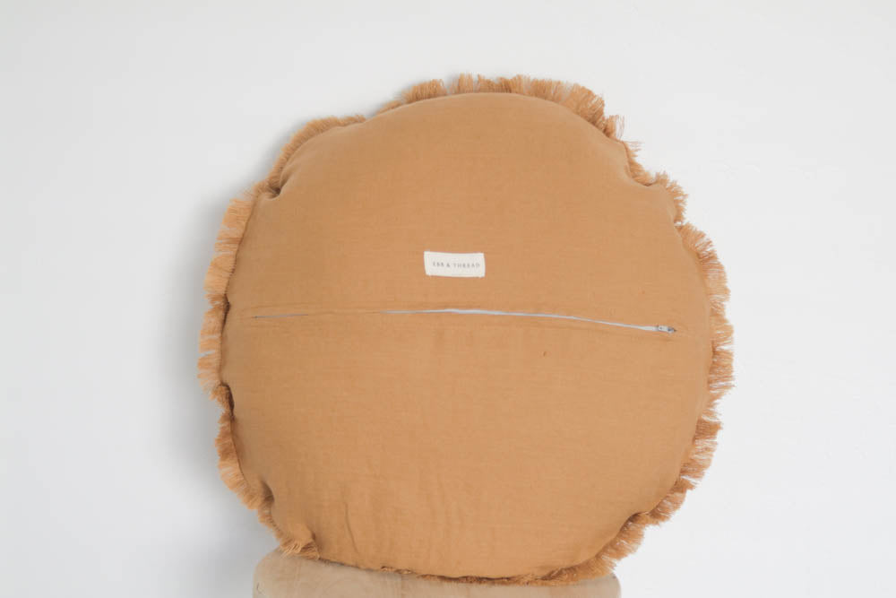 Raw Edge Linen Pillow Cover in Mustard