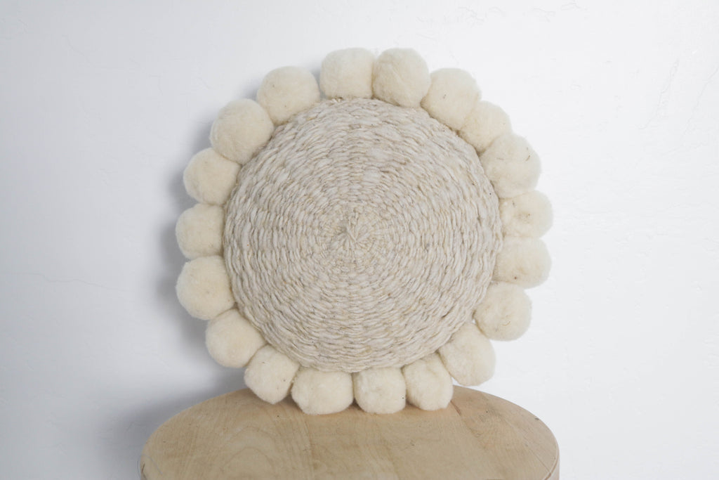 Woven Pom Pom Pillow Mini in Natural