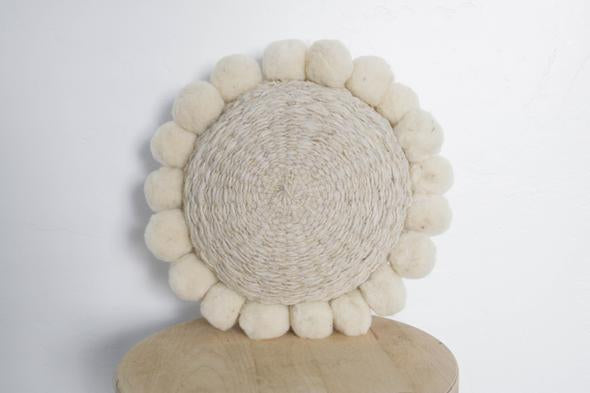 Woven Pom Pom Pillow in Natural Mini
