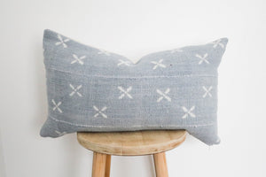 Mud Cloth Lumbar Pillow Cover Blue