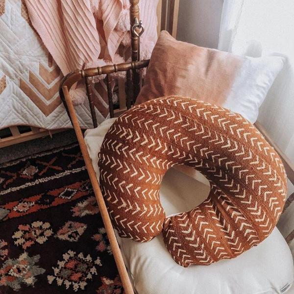 Mud Cloth Nursing Pillow Cover Rust