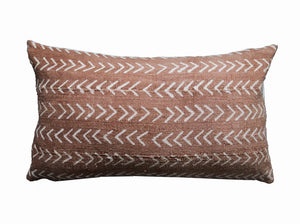 Mud Cloth Pillow Cover Lumbar Rust