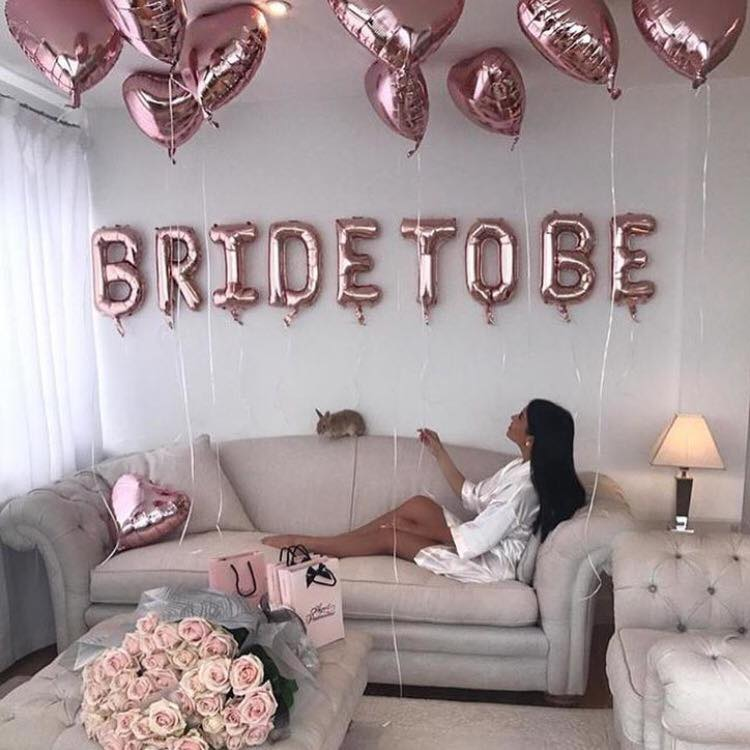 Bride To be Rose Gold Balloon and rose gold hearts