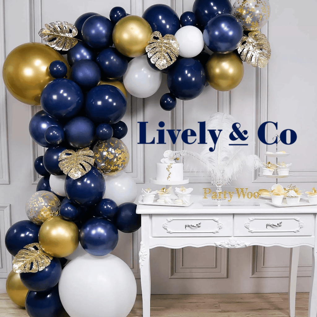 Balloon DIY Garland - Navy Blue, Gold, White & Gold leaves