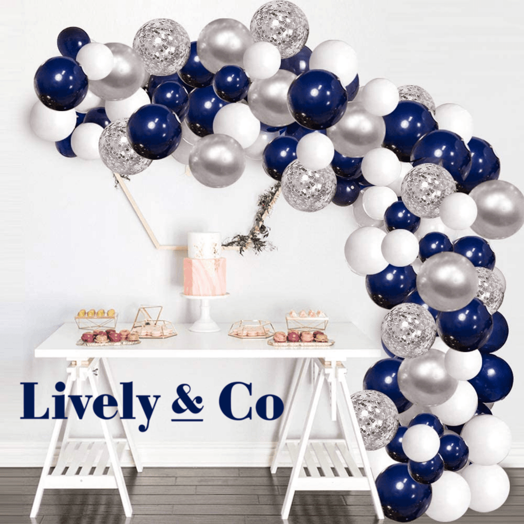 Balloon DIY Garland - Navy Blue, Silver & White